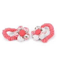 De Berry Floral Print Rubber Band - Coral & White
