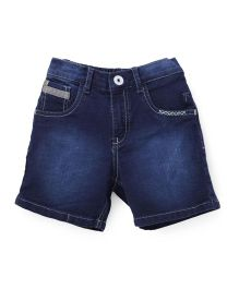 Palm Tree Denim Shorts - Dark Blue