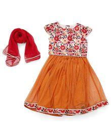 Babyoye Lehenga With Blouse And Dupatta - Orange Red
