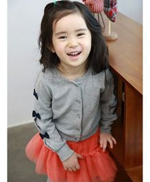 Wonderland Casual Cardigan With Bows On Sleeves - Grey
