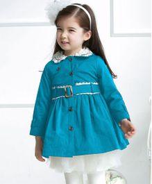 Wonderland Stylish Lace Coat - Blue