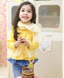 Wonderland Stylish Cardigan With Bow - Yellow