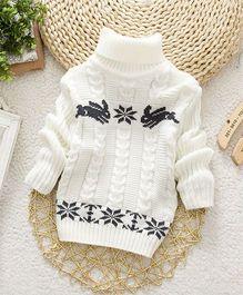 Wonderland Stylish High Neck Sweater - White
