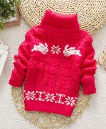 Wonderland Stylish High Neck Sweater - Rose