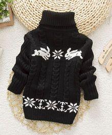 Wonderland Stylish High Neck Sweater - Black