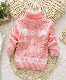 Wonderland Stylish High Neck Sweater - Pink