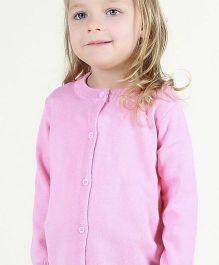 Wonderland Front Button Solid Cardigan - Pink