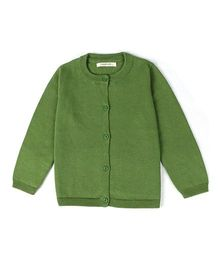 Wonderland Front Button Solid Cardigan - Green