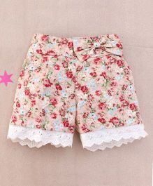 De Berry Floral Print Baby Shorts - Coral Peach