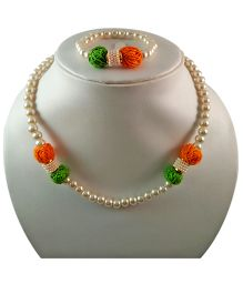 Tiny Closet Pearl & Thread Ball Necklace With Bracelet Set - Green White & Orange