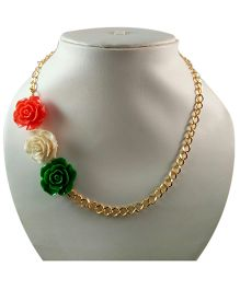 Tiny Closet 3D Rose Necklace - Green White & Orange
