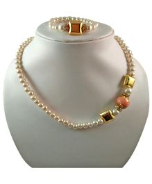 Tiny Closet Pearl With Stone Necklace & Bracelet Set - Coral
