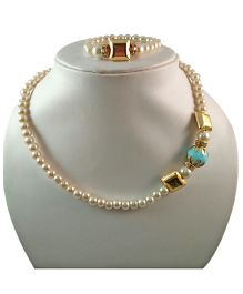 Tiny Closet Pearl With Stone Necklace & Bracelet Set - Blue