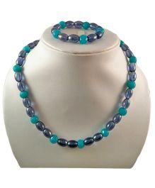 Tiny Closet Beads Necklace & Bracelet Set - Blue