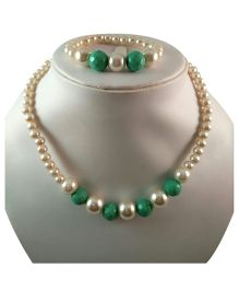 Tiny Closet Pearl With Beads Necklace & Bracelet Set - Green & White