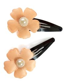 Tiny Closet Floral Snap Clip With Little Pearl - Peach