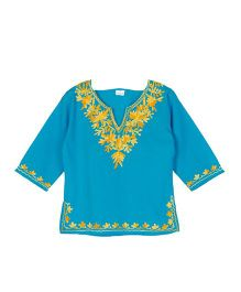 Pikaboo Blue Full Sleeves Embroidered Kurti - Blue