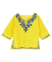 Pikaboo Full Sleeves Kurti Floral Embroidery - Yellow Blue