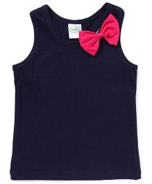 Babyhug Racer Back Top With Bow Applique - Navy Blue