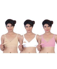 Fabme Nursing Bra Pack Of 3 - Pink White Beige
