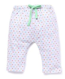 Babyhug Dots Print Lounge Pants - White Green