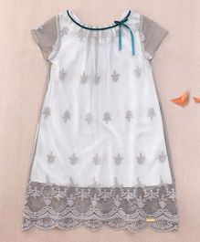 One Friday Girls Embroidered Lace Dress - Grey