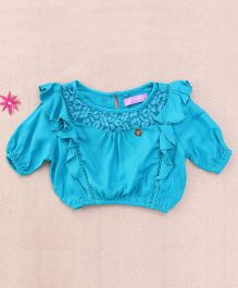 One Friday Viscose Lace & Frill Top - Teel Green