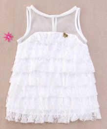 One Friday Lace Ruffled Dress - White