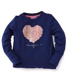 One Friday Full Sleeve Heart Print T-Shirt - Navy Blue