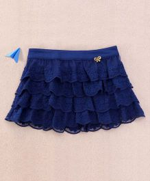 One Friday Lacy Frilly Embroidered Skirt - Navy Blue