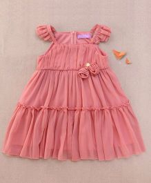 One Friday Rosette Frilly Dress - Bright Pink