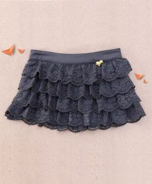 One Friday Lacy Frilly Embroidered Skirt - Grey