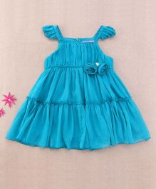 One Friday Rosette Frilly Dress - Teal Blue