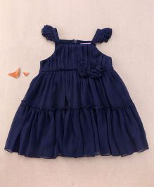 One Friday Rosette Frilly Dress - Navy Blue