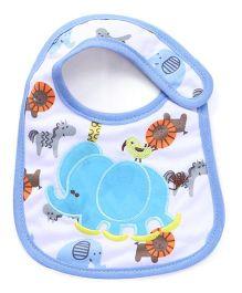 Babyhug Bib Velcro Closure Elephant Embroidery - White And Blue