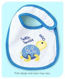 Babyhug Bib Velcro Closure Tortoise Embroidery - Blue And Yellow
