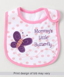 Babyhug Bib Velcro Closure Butterfly Embroidery