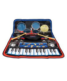 Playmate 2 In 1 Piano And Drumset Playmat - Black And Blue