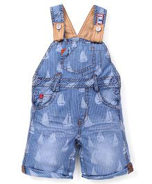 Little Kangaroos Dungaree Style Rompers Sail Boat Print - Light Blue