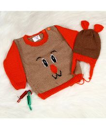 The Original Knit Cute Puppy Sweater With Cap Set - Brown & Orange