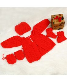 The Original Knit Knitted Sweater Pearl Button Set With Cap Mittens & Socks - Tomato Red