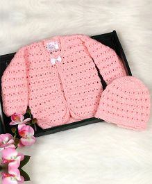 The Original Knit Tiny Bow Sweater With Cap - Baby Pink
