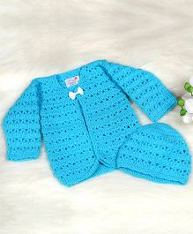 The Original Knit Tiny Bow Sweater With Cap - Sky Blue