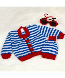 The Original Knit Striped Sweater Set With Cap - Blue White & Red