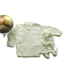 The Original Knit High Neck Sweater Set With Cap & Booties - Cream
