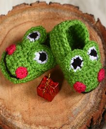 The Original Knit Frog Warm Booties - Green