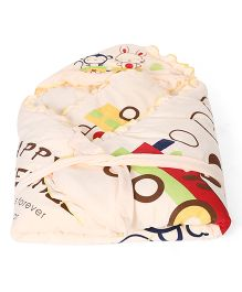 Mee Mee Baby Wrapper and Blanket Bunny Print - Cream