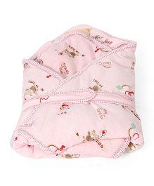 Mee Mee Hooded Swaddle Wrapper Bear Print - Pink