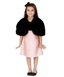 Kidology Russian Fur Bolero Dress - Blush & Black