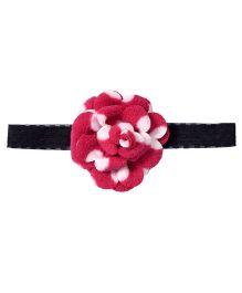 Miss Diva Elegant Polar Fleece Warm Look Polka Dots Flower Soft Headband - Magenta